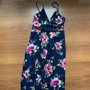 Navy & pink floral maxi dress